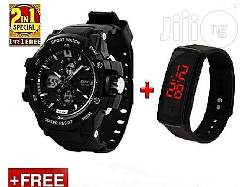 Archive: Skmei Chronograph Digital & Analog Sports Watch + Free LED Watch