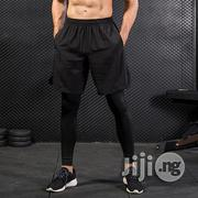 Fashion 2 Piece Set Men Fitness Pants Black Solid High | Clothing for sale in Lagos State, Lagos Mainland