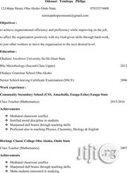 Computing & IT CV | Part-time & Weekend CVs for sale in Ondo State, Akure
