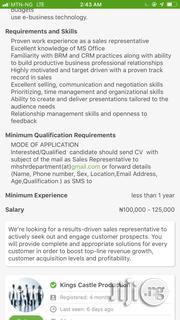 Sales Person | Sales & Telemarketing CVs for sale in Lagos State, Ilupeju