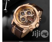 Naviforce Gold Brown Leather Wristwatch | Watches for sale in Lagos State, Ikeja