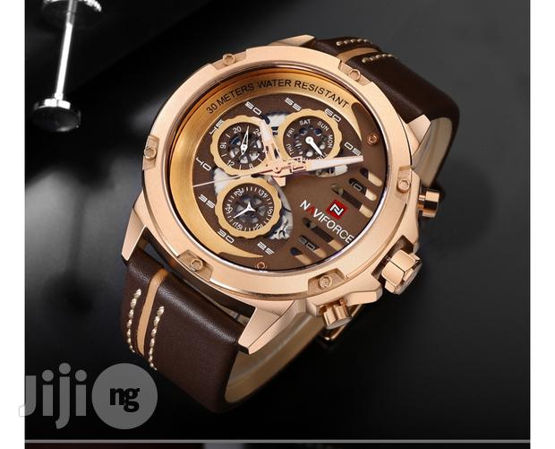 Archive: Naviforce Gold Brown Leather Wristwatch