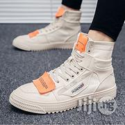 Fashion Men's Sneakers High Top Sport Shoes Canvas Breathable Running Sneakers- Beige. | Shoes for sale in Abuja (FCT) State, Central Business District