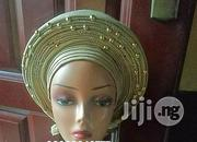 Gold Auto Gele Aso Oke Stoned | Clothing for sale in Rivers State, Port-Harcourt