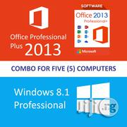 MSFT Windows 8.1 Pro + Office 2013 Professional Plus - License For 5 Computers (License Key + DVD / Download) | Software for sale in Lagos State, Lagos Mainland
