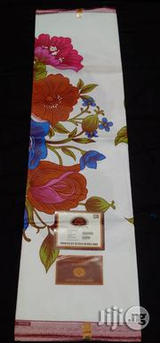 White And Multicolor Floral Pattern Holland Wax - 6 Yards   Clothing for sale in Abuja (FCT) State, Kubwa