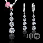 925 Sterling Silver Super Shining Cubic Zirconia Pendant Necklace Earrings Set | Jewelry for sale in Lagos State, Ikoyi
