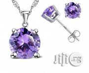 925 Sterling Silver Stud Earrings Necklace Pendant Set Purple | Jewelry for sale in Lagos State, Lagos Island