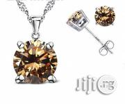 925 Sterling Silver Stud Earrings Necklace Pendant Set Champagne | Jewelry for sale in Lagos State, Lagos Island
