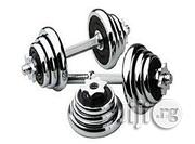 Deyoung 20kg Adjustable Dumbell Set - Silver | Sports Equipment for sale in Rivers State, Port-Harcourt