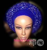 Aso Oke Auto Gele Embellished Royal Blue For All Occassion | Clothing for sale in Lagos State, Lekki Phase 2