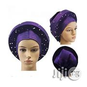 Auto Gele With White Peal Embellishment Purple | Clothing Accessories for sale in Lagos State, Lekki Phase 2