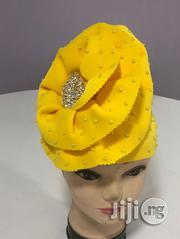 Yellow Beaded Turban Cap | Clothing Accessories for sale in Lagos State, Gbagada