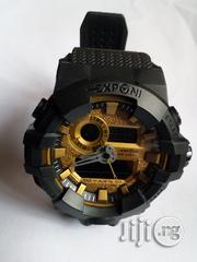 Analog Digital Sports High Quality Watch - Black With Gold Color Face | Watches for sale in Lagos State, Mushin