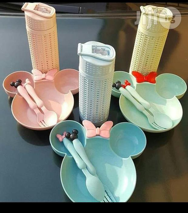 Mickey Mouse Serving Plate,Spoon , Fork And Bottle