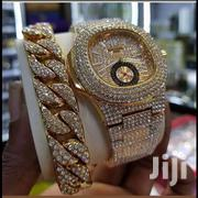 Patek Philippe Ice Stones Gold Wristwatch & Ice Stones Bracelet | Jewelry for sale in Lagos State, Surulere