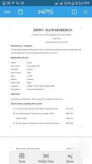 Healthcare Nursing CV   Healthcare & Nursing CVs for sale in Lagos State, Alimosho