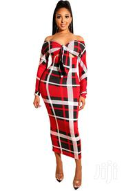 Sexy Sweetheart Plaid Long Curvy Dress With Full Sleeves   Clothing for sale in Lagos State, Amuwo-Odofin