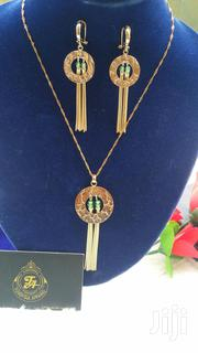 Gold Green Drop Dangling Earrings and Pendant | Jewelry for sale in Lagos State, Ajah