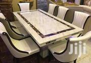 A Brand New Cristal Turkey Marble Dining Table With Six Durable Chair   Furniture for sale in Lagos State, Victoria Island