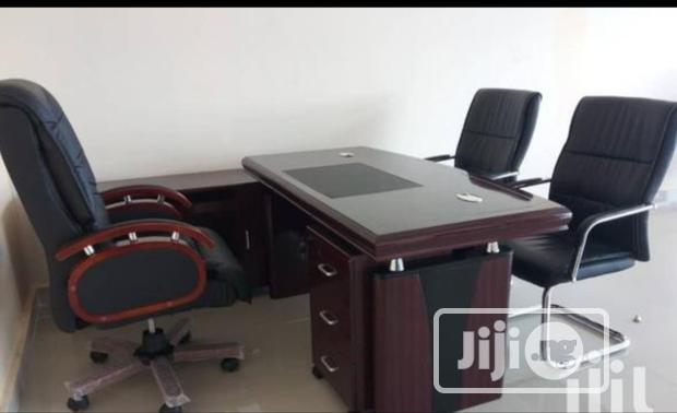 Complete Set of Durable Executive Office Table and Swivel Chairs