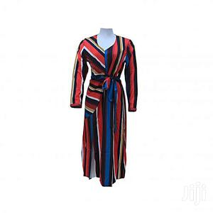 Fashion Lady's v Neck Long Sleeve Gown -Multicolour
