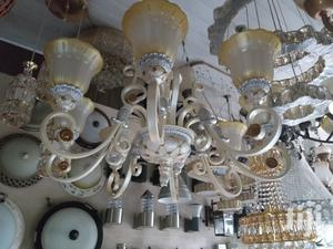 Big Chandelier Light Combination With White And Gold