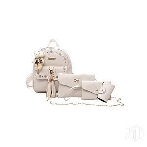 Fashion Women 4 in 1 Set Teddybear Charm Backpack - Beige
