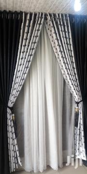 Black an Doted Grey Curtain | Home Accessories for sale in Lagos State, Ajah
