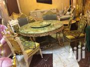 High Quality Gold Round Marble Dining With Six Gold Chairs | Furniture for sale in Lagos State, Ojo