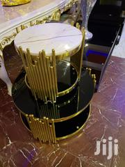 Unique Gold Design Set of Marble Center Table With Two Side Stools | Furniture for sale in Abuja (FCT) State, Wuse