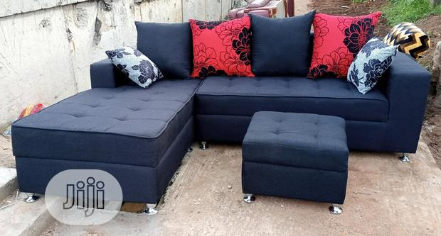 New L-Shaped Sofa Chair With Ottoman Puff - Black Fabric Couches