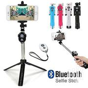 Selfie Stick Foldable Tripod 3 In 1 Universal Romote Bluetooth Stick | Accessories & Supplies for Electronics for sale in Lagos State, Ikeja