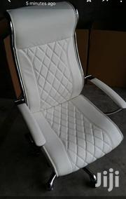 White Leather Swivel Chair   Furniture for sale in Lagos State, Lekki Phase 1