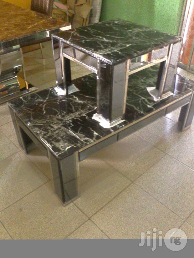 Marble Table With Mirror Leg