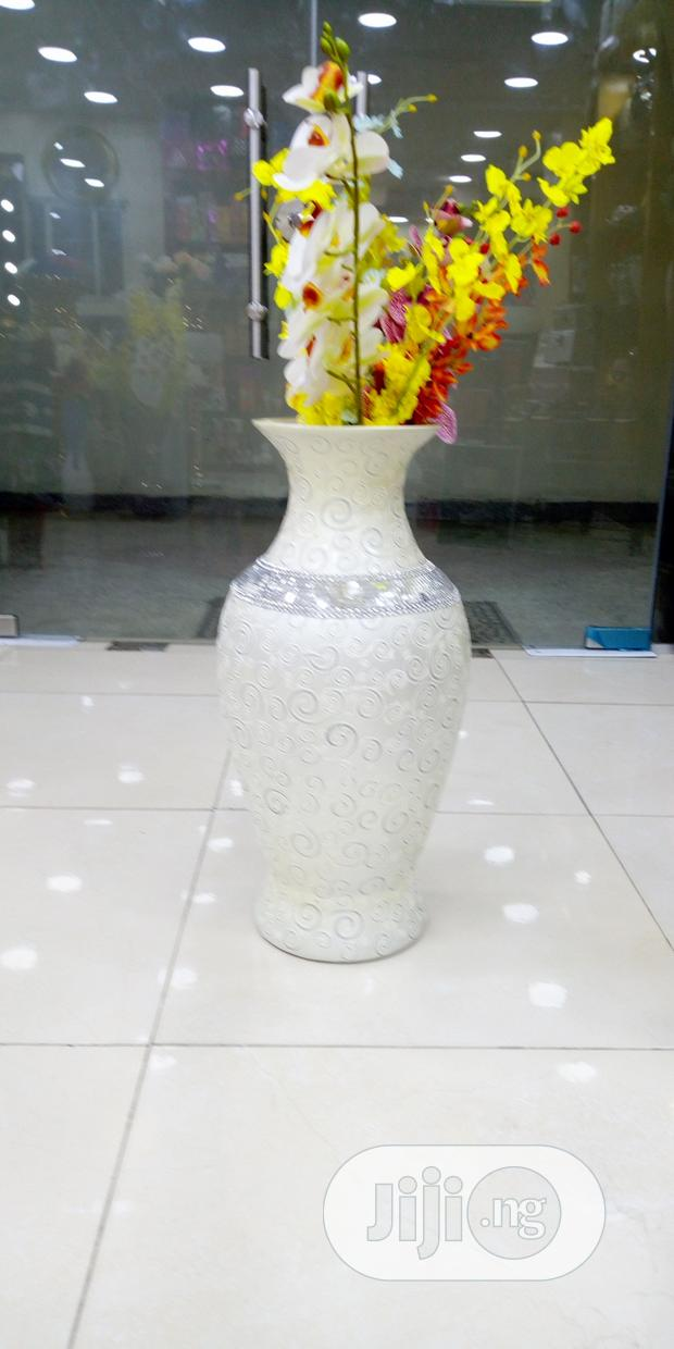White And Silver Floor Vase