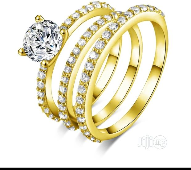 Archive: 14k Real Eternity Yellow Gold Wedding Ring Set