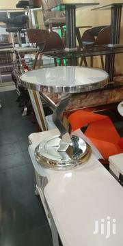 Imported Silver Stool With Glass Top | Furniture for sale in Lagos State, Ajah
