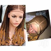 Gold Braided Center Part Ghana Weaving Wig | Hair Beauty for sale in Lagos State, Ikeja