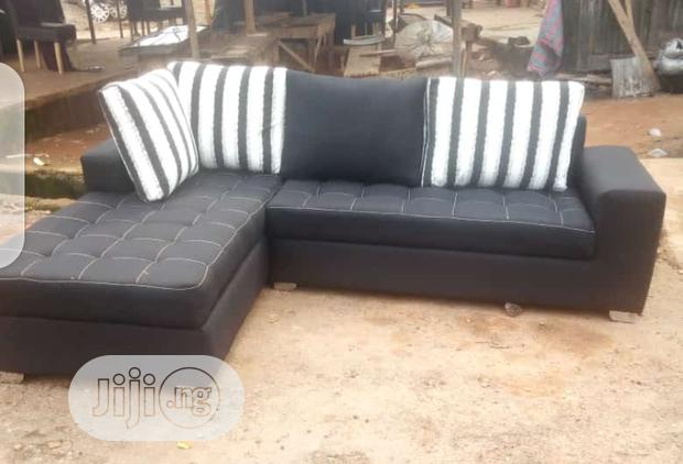 L-Shaped Sofas , Chairs With Pillows - Black Fabric Couches