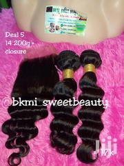 Raw Virgin Loose Deep Wave Human Hair With Closure '14' Inches | Hair Beauty for sale in Lagos State, Lagos Mainland