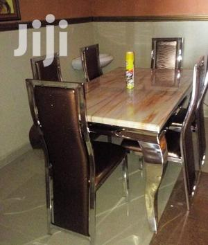 New 6 Seater Quality Marble Dining Table Set