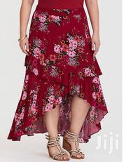 Red Floral Hi-Lo Gauze Skirt | Clothing for sale in Lagos State, Ikeja