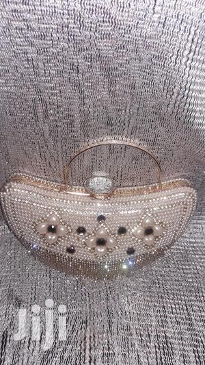 Heart Shaped Diamante and Beaded Champagne Gold Clutch Purse