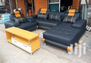 L-Shaped Sofas, a Single Seater Chair and TV Shelf - Leather Couches   Furniture for sale in Lagos State, Ikotun/Igando