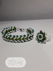Green and White Beaded Bracelet With Matching Ring | Jewelry for sale in Lagos State, Shomolu
