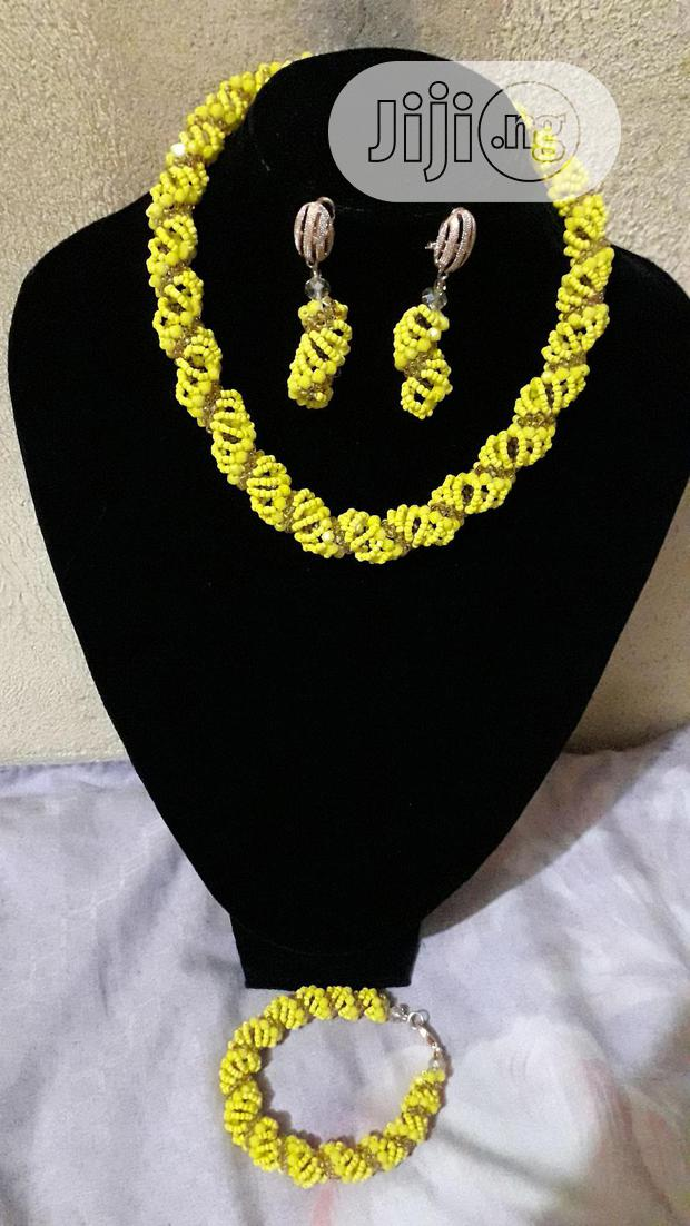 Yellow and Gold Beaded Jewellery Set