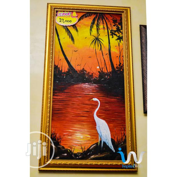 """Great Egret On A Sunset 15"""" By 31"""" Oil Painting"""
