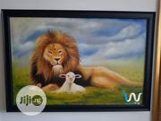 """Lion & The Lamp 24"""" By 36""""Oil Painting. 
