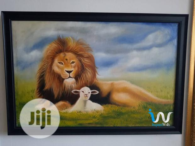 """Lion & The Lamp 24"""" By 36""""Oil Painting."""